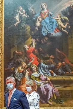 پادشاه و ملکه بلژیک در حال بازدید از موزه هنرهای زیبا در شهر بروکسل/ گاردین