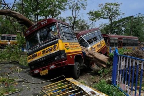 نصف شدن اتوبوس در اثر سقوط درخت در توفان/ کلکته هند/ زوما