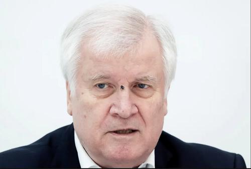 نشستن مگس روی صورت وزیر کشور آلمان در جریان نشست خبری در شهر وین اتریش/ EPA