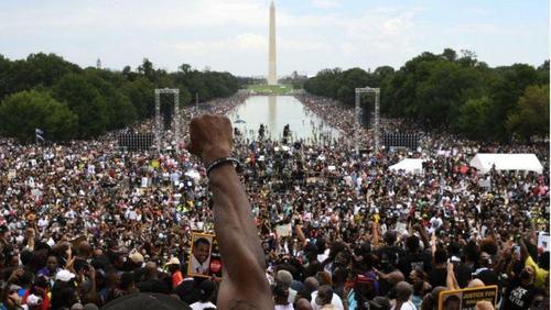 تجمع صدها هزار نفر در پایتخت آمریکا در اعتراض به خشونت پلیس و نابرابری نژادی - بی بی سی