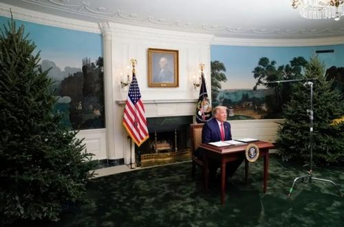 ترامپ در تلهکنفرانس روز شکرگزاری در کاخ سفید/ رویترز