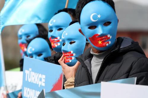 تظاهرات مسلمانان اویغور چین در شهر استانبول ترکیه علیه سرکوب مسلمان اویغور از سوی حکومت کمونیستی چین/ EPA