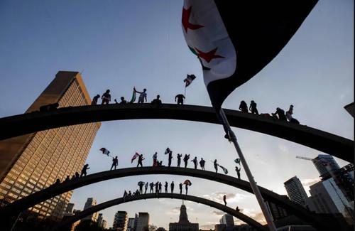 تظاهرات اعلام همبستگی با مردم فلسطین در شهر تورنتو کانادا/ خبرگزاری فرانسه