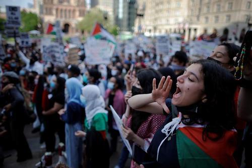 تظاهرات در اعلام همبستگی با فلسطین در شهر بوستون ایالت ماساچوست آمریکا/ رویترز