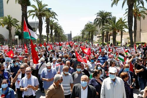 تظاهرات حمایت از فلسطین در تونس/ رویترز