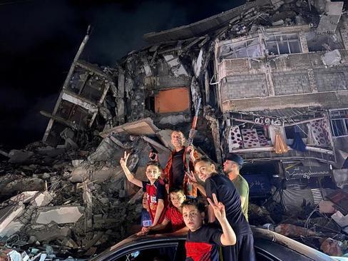جشن پیروزی در نوار غزه/ رویترز