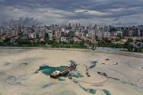 شناورهای تمیزکننده سطح دریا در حال پاکسازی سطح دریای مرمره در سواحل شهر استانبول ترکیه. یک لایه ضخیم و لغزنده از مواد آلی در سواحل استانبول تشکیل شده که تهدیدی برای اکوسیستم دریایی منطقه است./ رویترز