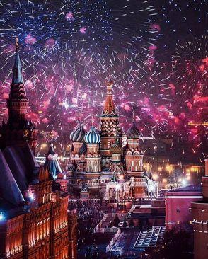 مراسم جشن سال نو میلادی در شهر مسکو، روسیه