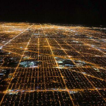 نمایی متفاوت از شهر شیکاگو در شب
