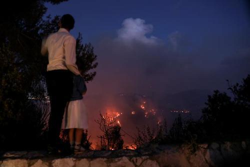 آتش سوزی مناطق جنگلی اطراف شهر قدس/ رویترز